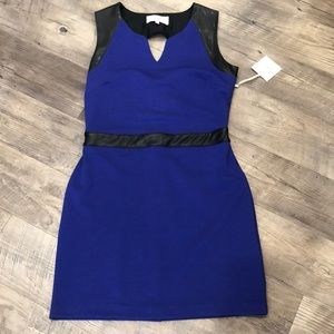 NWT Blue dress with leather accents!!
